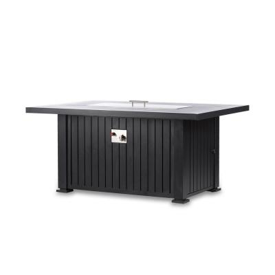 Maxwell 52 in. x 35 in. Rectangle Chat Propane Fire Pit Table in Black with Cover