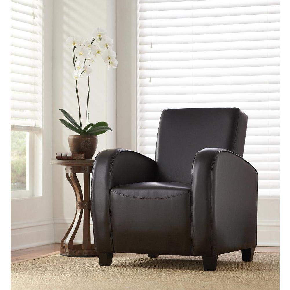 Classic Bonded Leather Club Chair in Dark Brown-CNF456-L - The ...