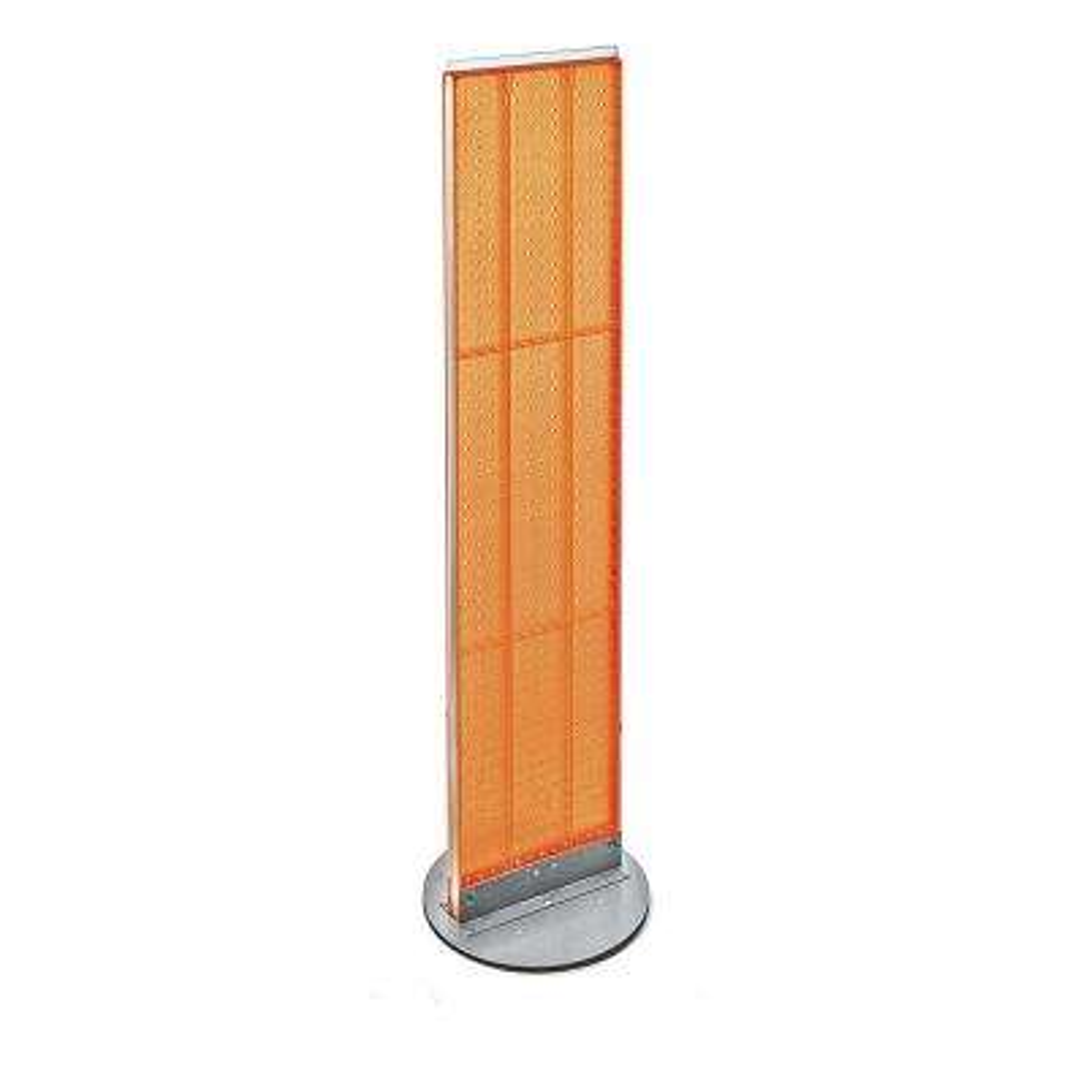 60 in. H x 13.5 in. W Styrene Pegboard Floor Display with Revolving Base in Orange (2-Piece)