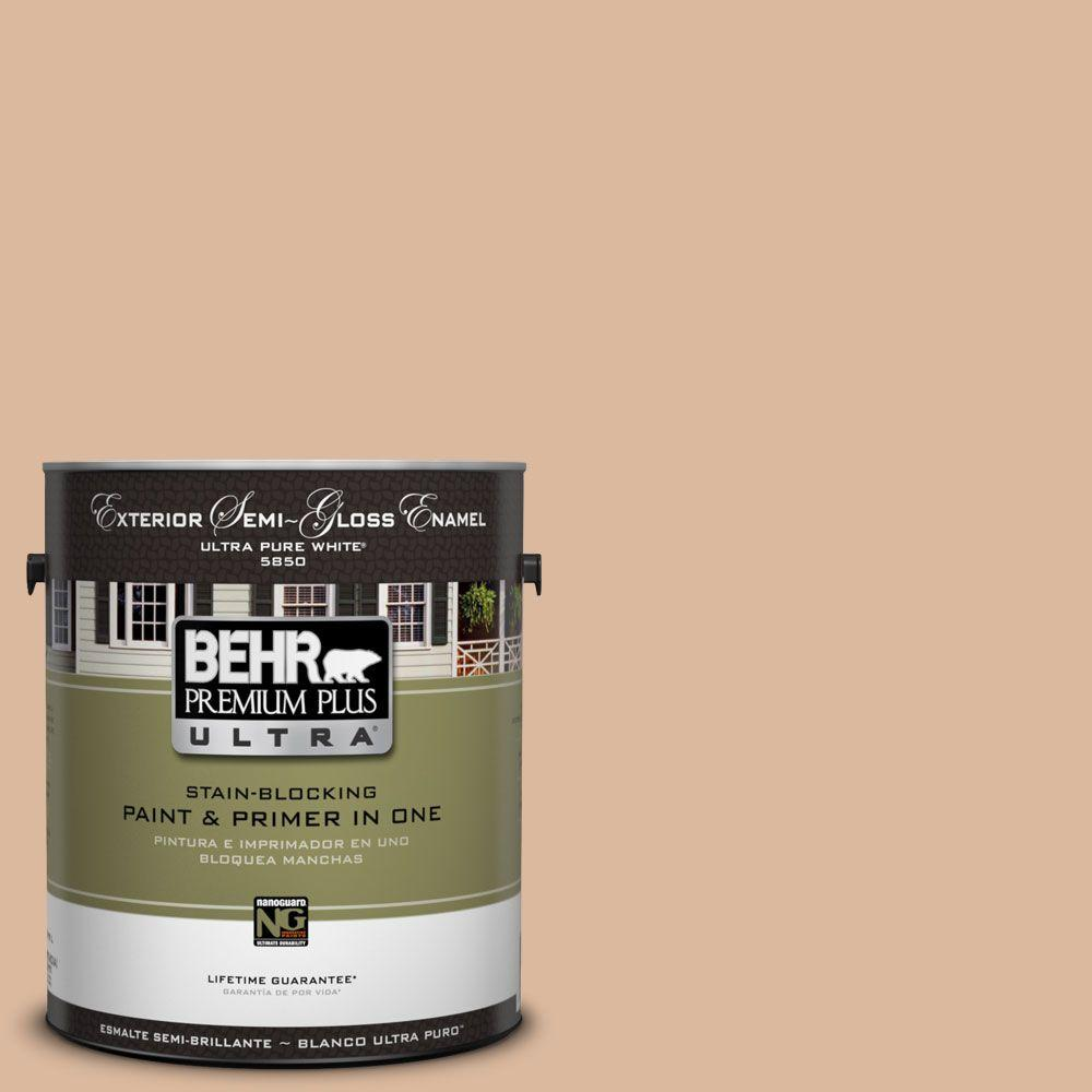 BEHR Premium Plus Ultra 1-Gal. #UL130-9 Pumpkin Cream Semi-Gloss Enamel Exterior Paint