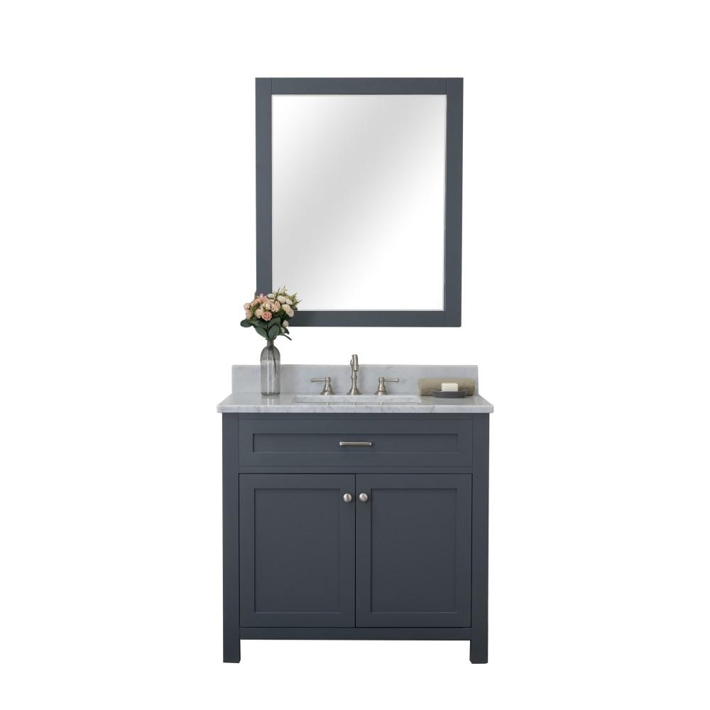 Design Element Redmond 36 in. W x 22 in. D Bath Vanity in Gray with Marble Vanity Top in White with White Basin and Mirror