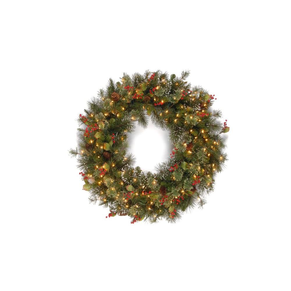 National Tree Company 30 in. Wintry Pine Artificial Wreath with ...