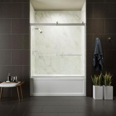 Levity 59 in. x 62 in. Semi-Frameless Sliding Tub Door in Silver finish with Handle