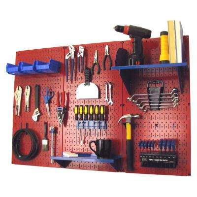 32 in. x 48 in. Metal Pegboard Standard Tool Storage Kit with Red Pegboard and Blue Peg Accessories