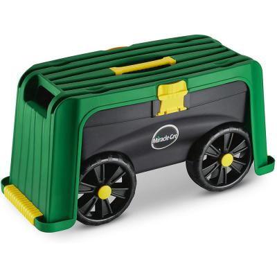 4-in-1 Garden Stool - Multi-Use Garden Scooter with Seat, Rolling Cart with Storage Bin, Padded Kneeler and Tool Storage