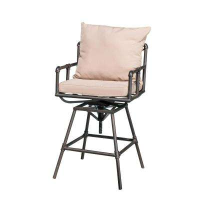 Jacoby Swivel Metal Outdoor Bar Stool with Beige Cushion