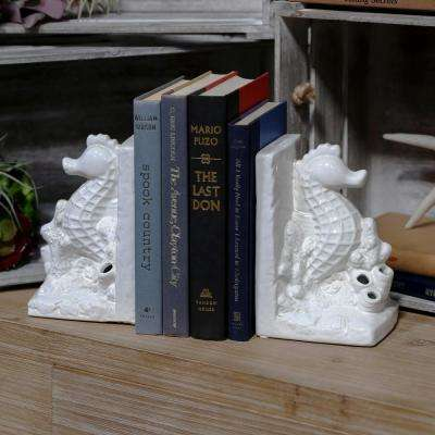 7.5 in. H Horsecoral Decorative Sculpture in White Gloss Finish (Set of 2)