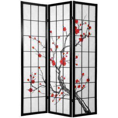 6 ft. Black Cherry Blossom 3-Panel Room Divider