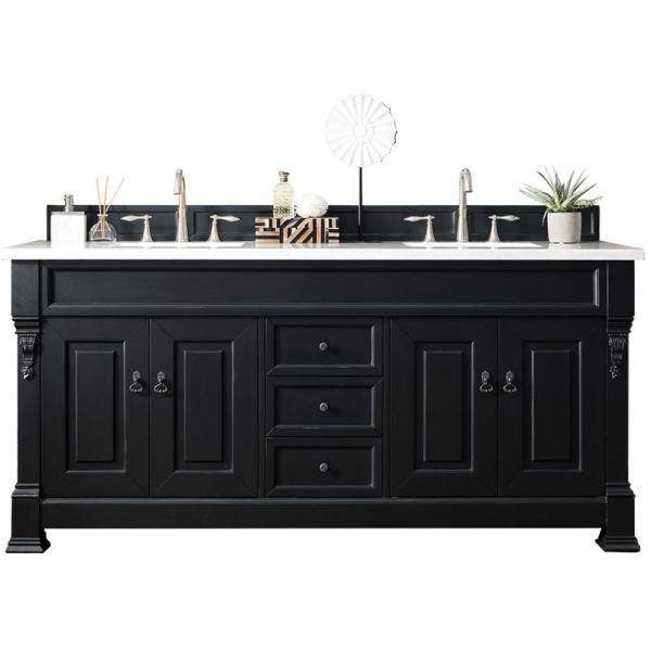 Brookfield 72 in. W Double Bath Vanity in Antique Black with Solid Surface Vanity Top in Arctic Fall with White Basin
