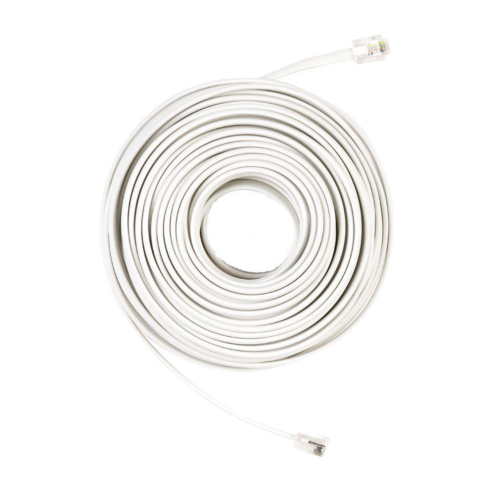 Commercial Electric 50 Ft Telephone Line Cord White 50ft House Wiring