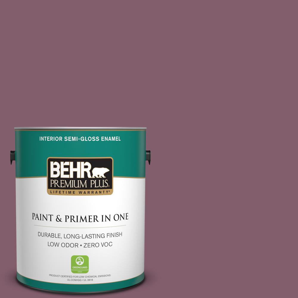 BEHR Premium Plus 1 gal. #BIC-35 Vintage Plum Semi-Gloss Enamel Zero VOC Interior Paint and Primer in One