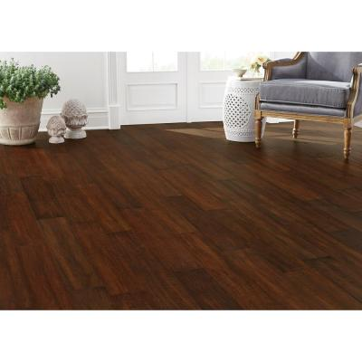 Hand Scraped Strand Woven Sahara 3/8 in. T x 5-1/5 in. W x 36.02 in. L Engineered Click Bamboo Flooring