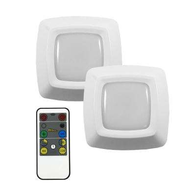 3 in. LED White Puck Light with Remote (2-Pack)