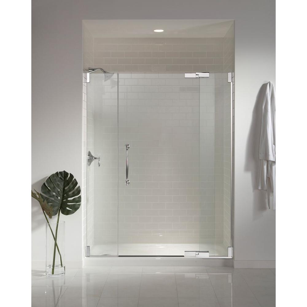 KOHLER Finial 57-1/4 in. x 72-1/4 in. Heavy Semi-Frameless Pivot ...