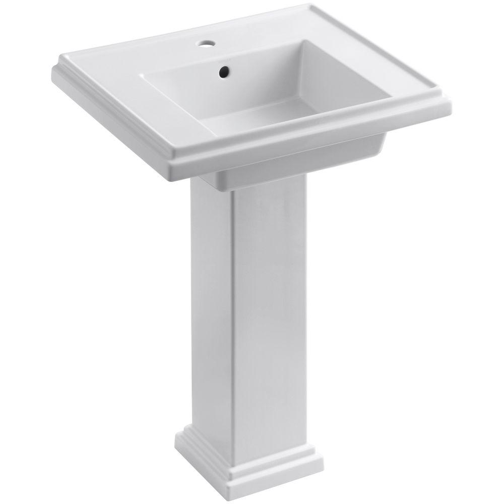 Tresham Ceramic Pedestal Combo Bathroom Sink with Single-Hole Faucet Drilling in