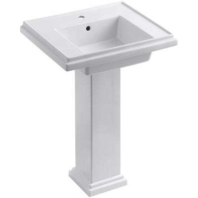 Tresham Ceramic Pedestal Combo Bathroom Sink with Single-Hole Faucet Drilling in White with Overflow Drain