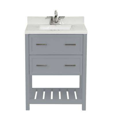 Milan 25 in. Bath Vanity in Grey with Cultured Marble Vanity Top with Backsplash in Carrara White with White Basin