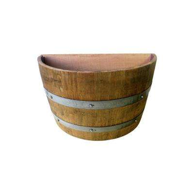 14 in. L 26 in. W 15 in. H Lacquer Finished Oak Wood Wine Barrel Wall Planter Handcrafted From Used Wine Barrel