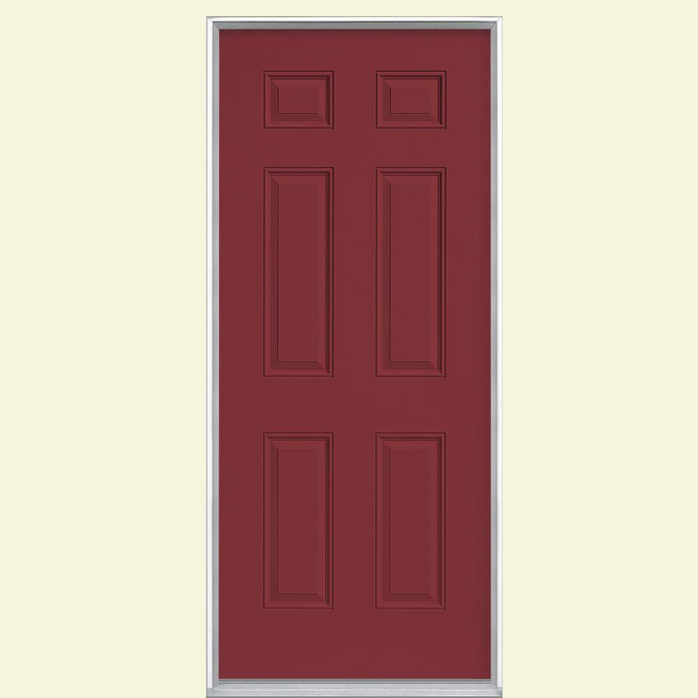 6-Panel Painted Steel Prehung Front Door with No Brickmold