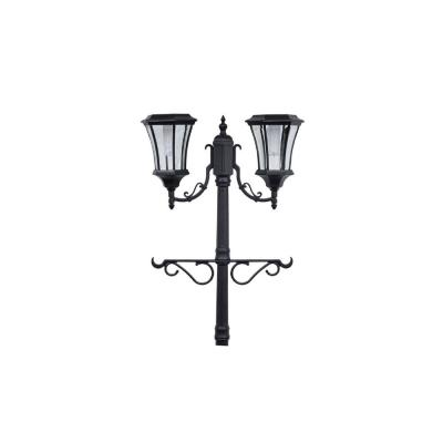 Martens 2-Light Outdoor Black Integrated LED Solar Lamp Post and Planter