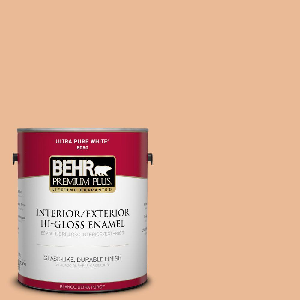 1-gal. #280C-3 Fresh Praline Hi-Gloss Enamel Interior/Exterior Paint