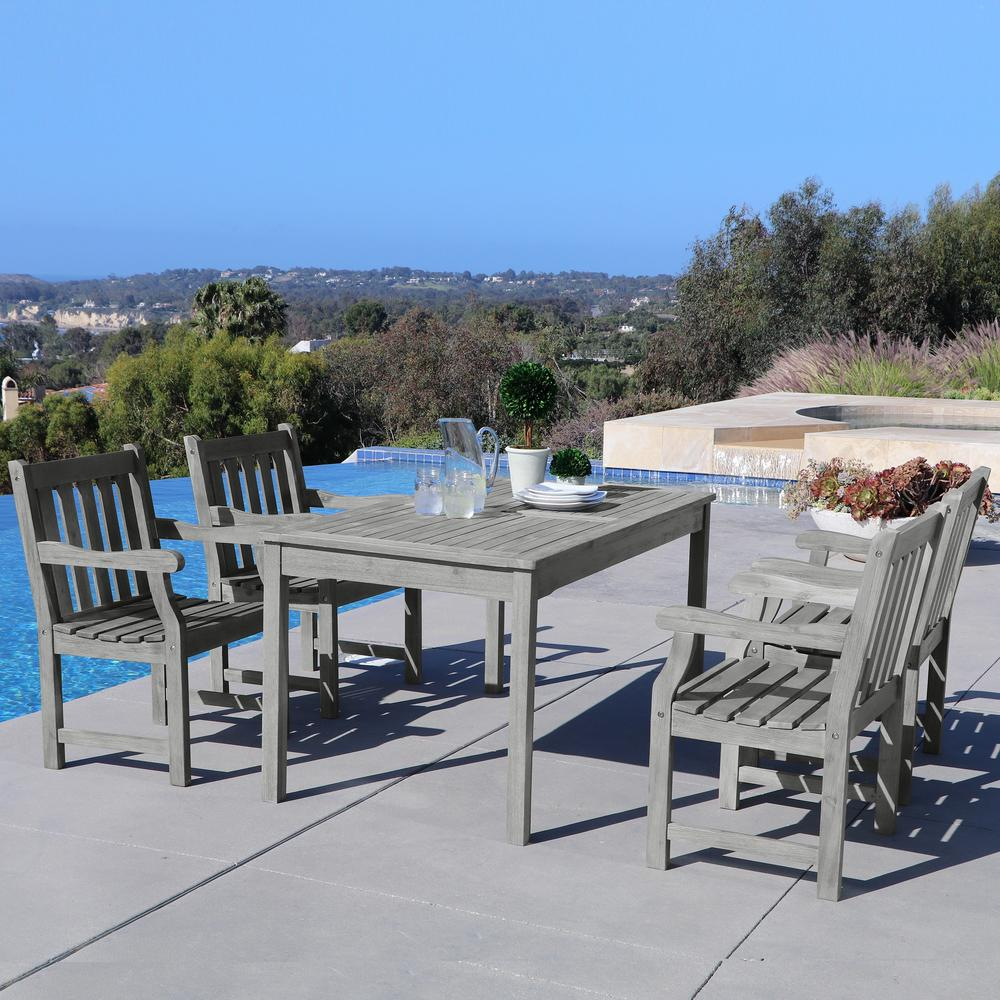 Details about 5 piece rectangle patio dining set wood outdoor deck furniture weather resistant