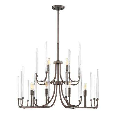 Laretto 12-Light Satin Copper Bronze Chandelier with Clear Smooth Glass Rods Shade