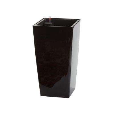 Modena 16 in. Square Gloss Black Plastic Self Watering Planter
