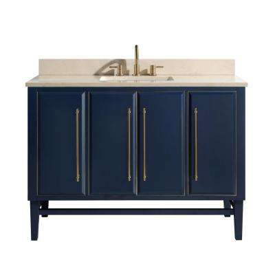 Mason 49 in. W x 22 in. D Bath Vanity in Navy Blue/Gold Trim with Marble Vanity Top in Crema Marfil with White Basin