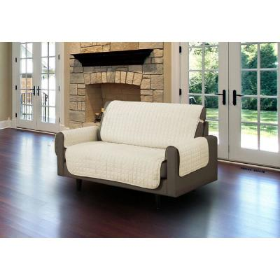 Beige Microfiber Loveseat Pet Protector Slipcover with Tucks and Strap