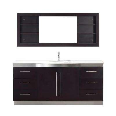 Dinara Single 72 in. Vanity in Chai with Quartz Vanity Top in Chai and Mirror