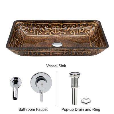 Rectangular Glass Vessel Sink in Golden Greek with Wall-Mount Faucet Set in Chrome