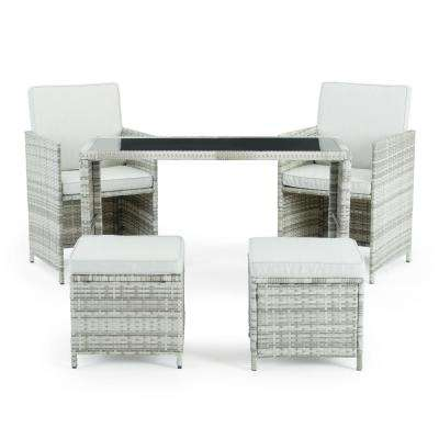 Sloan Grey 5-Piece Wicker Outdoor Dining Set with Beige Cushions