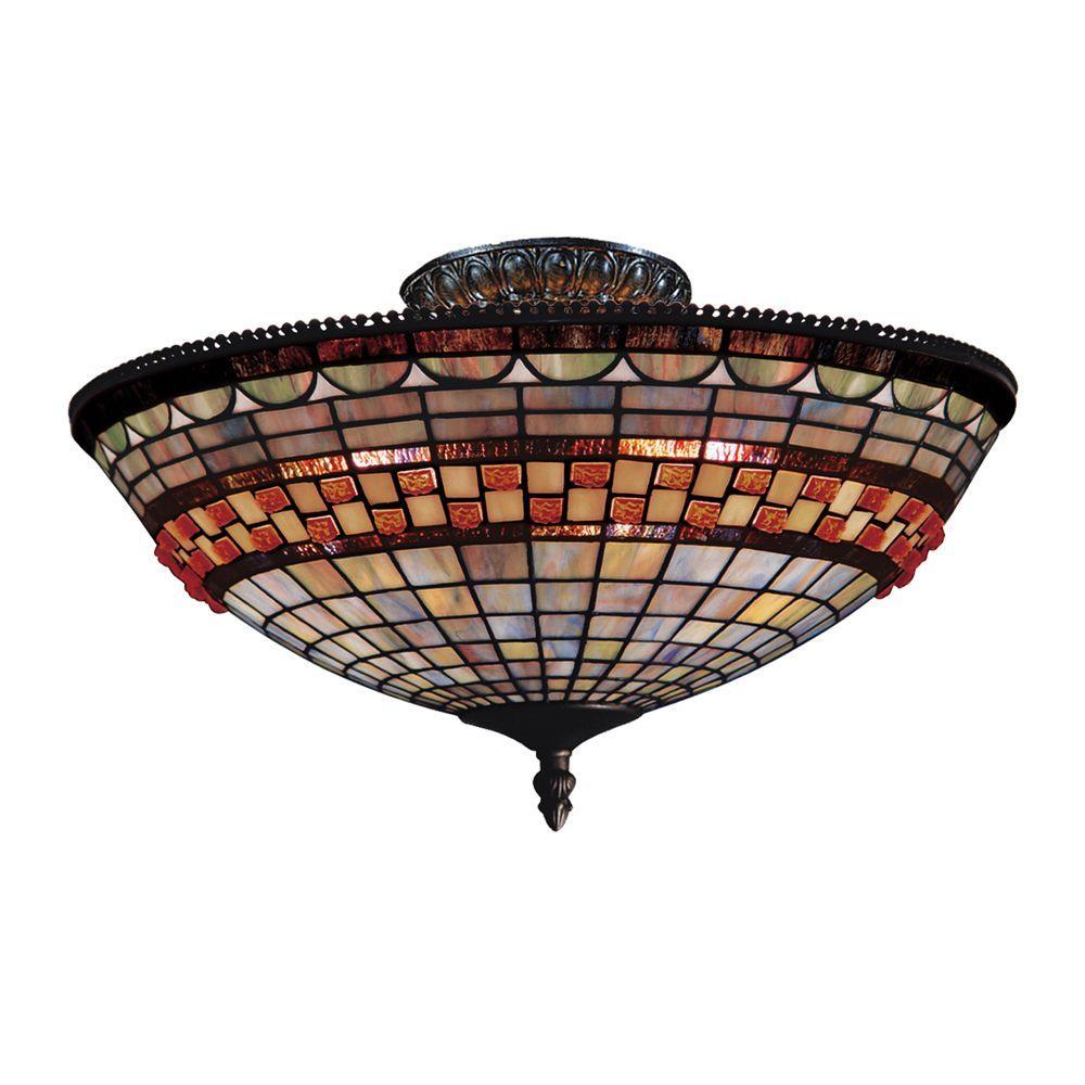 An Lighting Jewelstone 3 Light Clic Bronze Ceiling Semi Flush Mount
