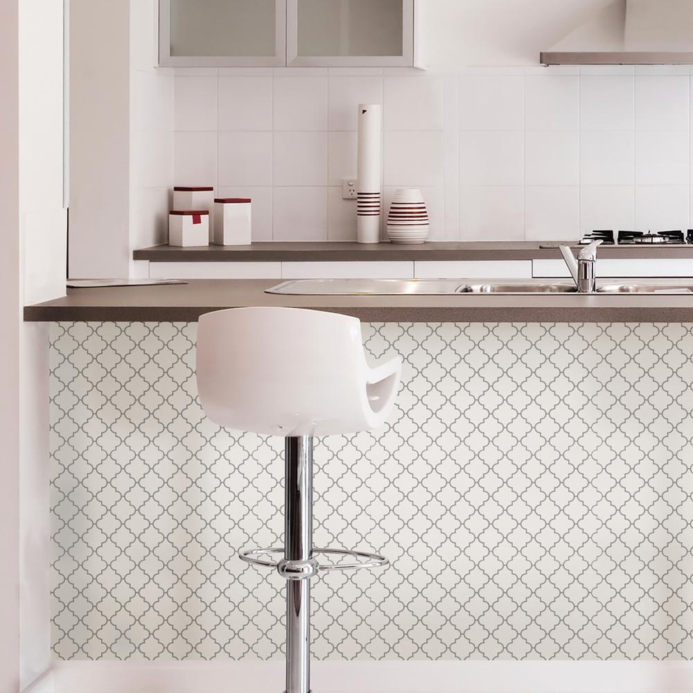 Pleasing Wall Pops White Quatrefoil Peel Stick Backsplash Tiles Interior Design Ideas Truasarkarijobsexamcom