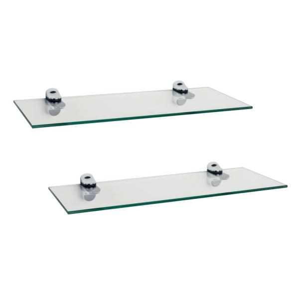 DANYA B Pristine 16 in. W x 2 in. H. Clear Glass Floating Shelves with Chrome Brackets (Set of 2)