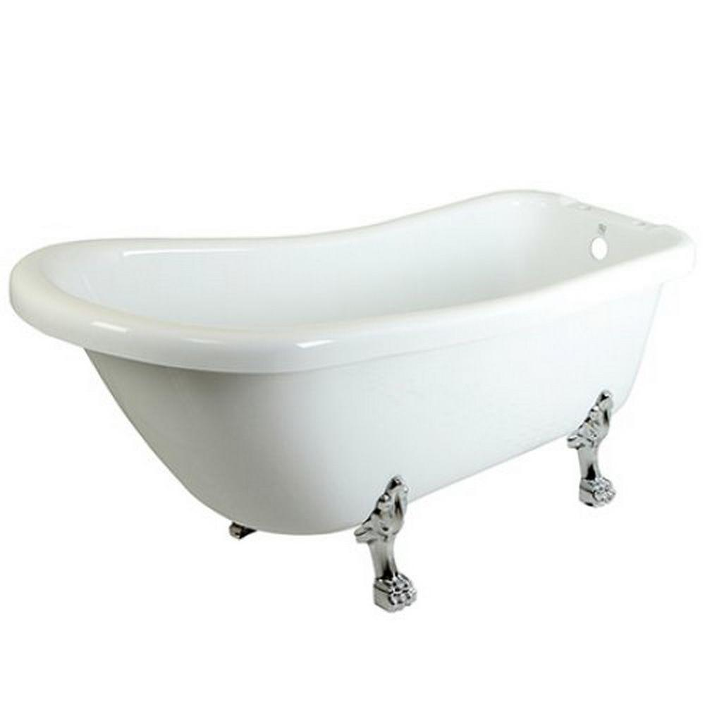 Aqua eden 5 6 ft acrylic polished chrome claw foot for Oval garden tub