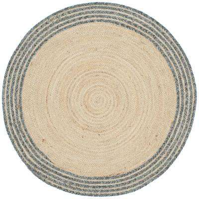 Cape Cod Ivory/Blue 3 ft. x 3 ft. Round Area Rug
