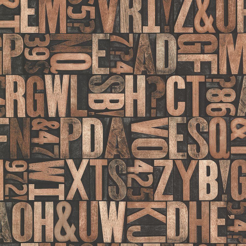 Brewster Great Scott Copper Alphabet Wallpaper Sample