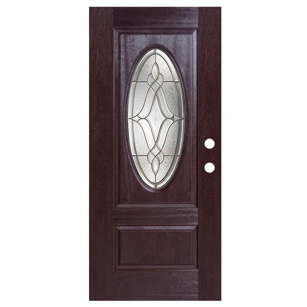 36 in. x 80 in. Dark Walnut Left-Hand Inswing Distinction Oval-Lite Prestige Stained Fiberglass Prehung Front Door