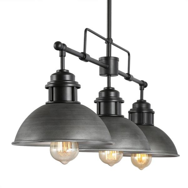 Lnc Industrial Sikan 3 Light Black Rustic Transitional Modern Dome Ceiling Pendant Linear Barn Kitchen Island Chandelier A03255 The Home Depot