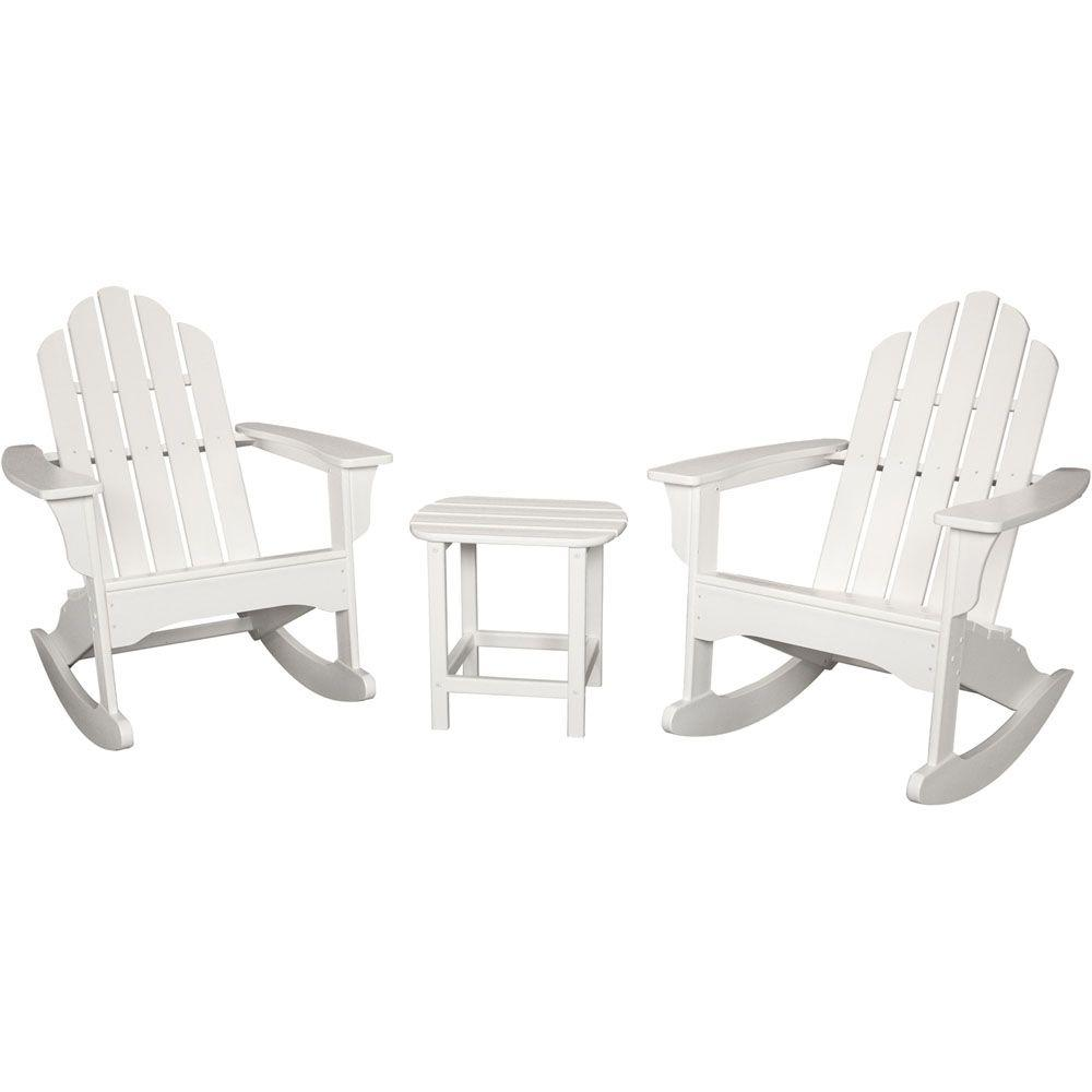 Hanover White All Weather 3 Piece Patio Rocking Adirondack Seating