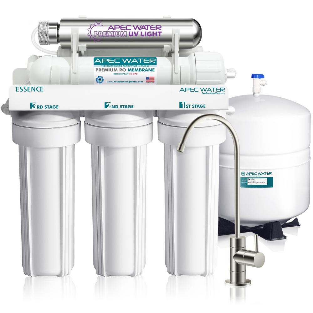 APEC Water Systems Essence Series UV Sterilizer 75 GPD 6-Stage Under-Sink Reverse Osmosis Drinking Water Filter System (Stainless Steel)