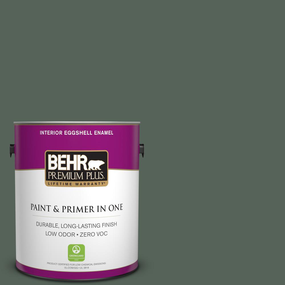 BEHR Premium Plus 1-gal. #PPF-45 Woodland Moss Zero VOC Eggshell Enamel Interior Paint