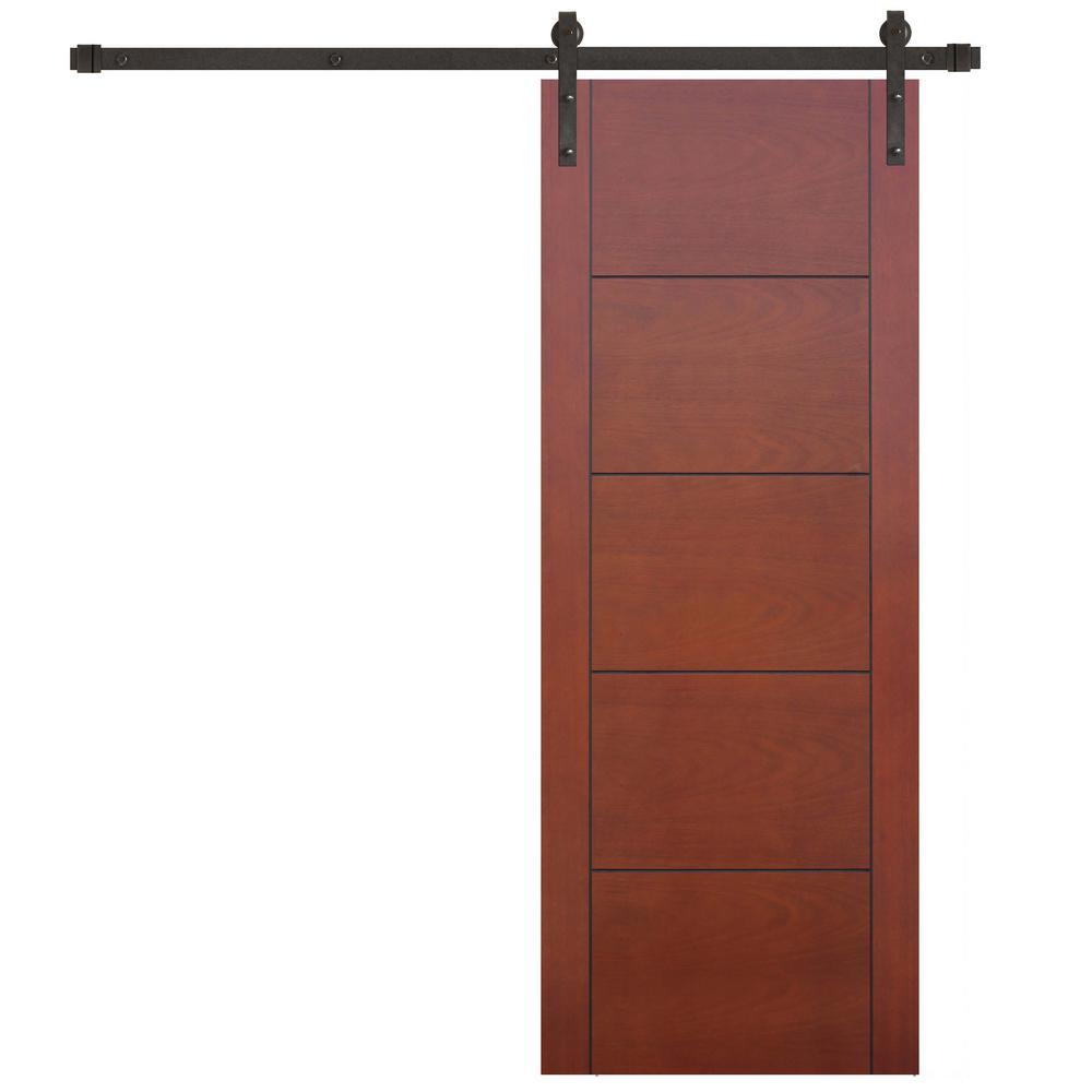 32 in. x 80 in. 5-Panel Prefinished Flush Mahogany Wood Barn Door with Bronze Sliding Door Hardware Kit