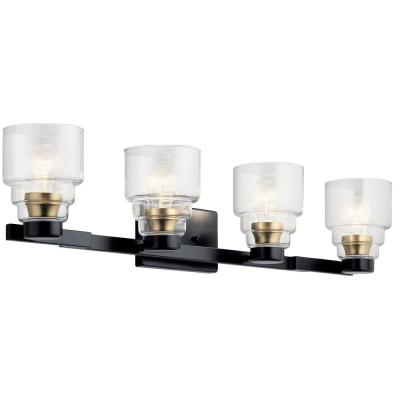 Vionnet 7 in. 4-Light Black Vanity Light with Clear Glass Shade
