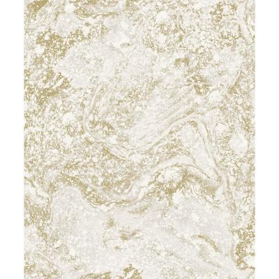 Infused Beige and Gold Foil Marble Wallpaper