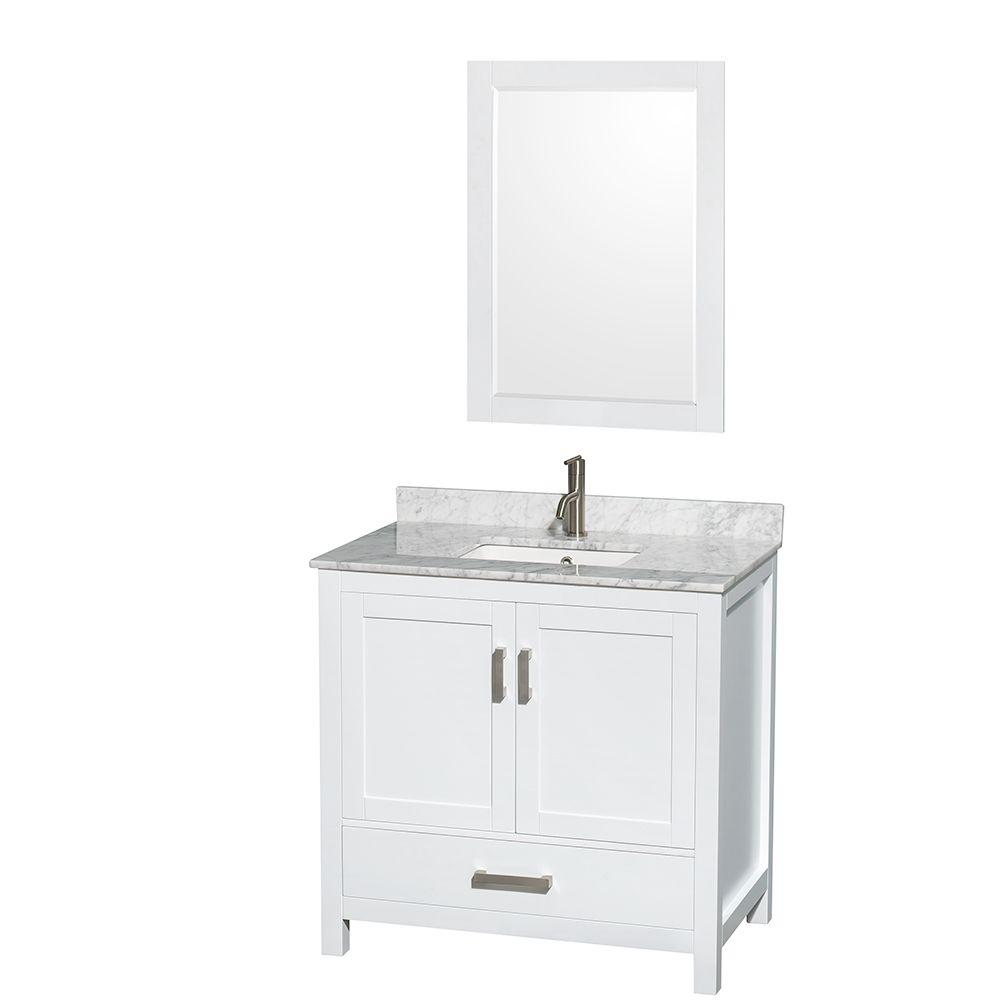 Wyndham Collection Sheffield 36 In. Vanity In White With Marble Vanity Top  In Carrara White