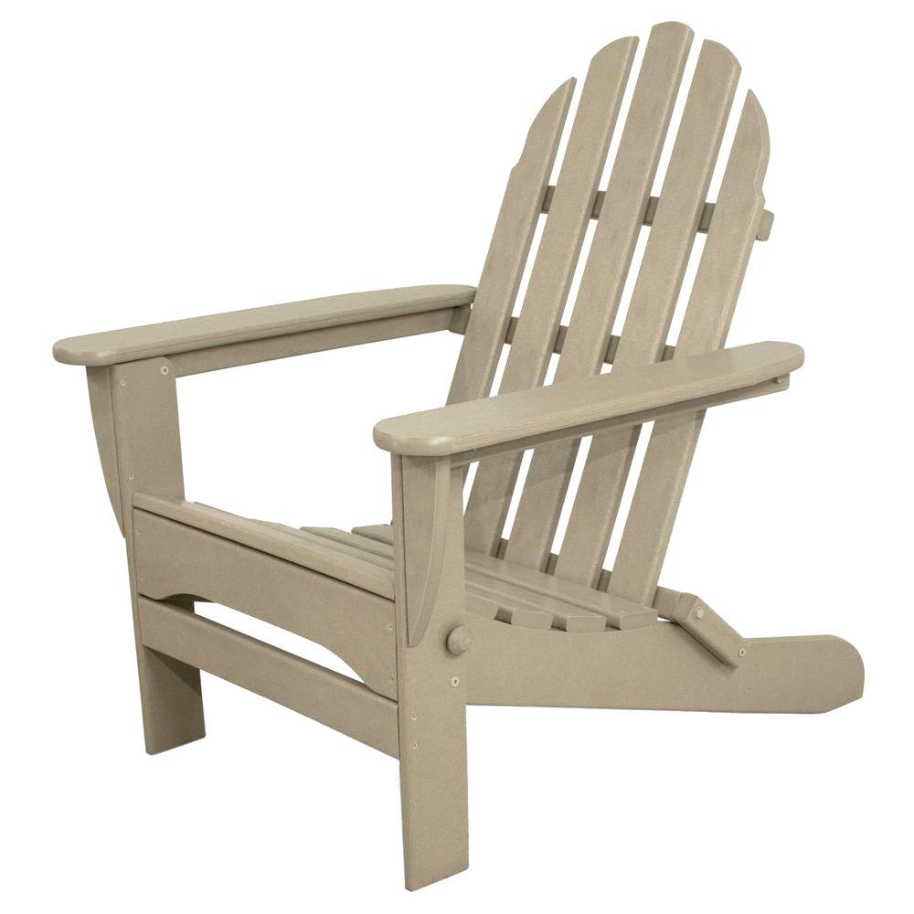Ivy Terrace Classics Sand Plastic Patio Adirondack Chair