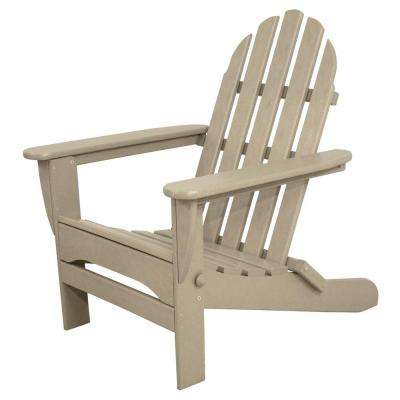 Classics Sand Plastic Patio Adirondack Chair